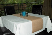 Jute Burlap Table Linen & Drapes / Jute Burlap Table Linen -- Burlap Table Runners, Burlap Tablecloths, Burlap Napkins, Burlap Placemats, and Burlap Drapes / Curtains. Makes any room instantly rustic and natural looking!