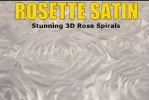 Rosette Satin / A stunning fabric unlike any other! 3D texture - beautiful rose pattern throughout is made by satin ribbon cuts sewn into spirals.