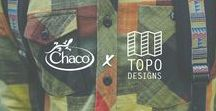 Chaco x Topo Designs / We've partnered with our friends at Topo Designs to develop a line of products that express the outdoor loving cultures of both brands. Our limited edition sandals boast fresh colors in custom webbing patterns inspired by our co-branded Topo Designs collaboration backpacks. Available at TopoDesigns.com and Chacos.com.  Chacos.com/US/en/topo-chaco