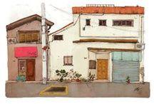 House concept | façades délabrés / dilapidated facades, colored houses, laundry lines