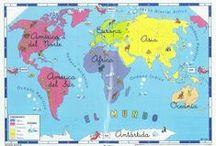 GEOGRAFÍA / Mapas de España, América, Europa y del mundo para niños.  Juegos didácticos de Geografía en español. Maps of Spain, America, Europe and the world for children. Geography educational games in Spanish.
