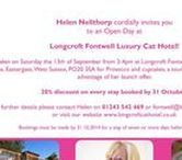 Longcroft Fontwell, West Sussex / Longcroft Fontwell is conveniently located just off the A27, in a pretty lane by Fontwell racecourse, midway between Chichester and Arundel in the garden of Helen's family home. Gatwick and Heathrow Airports are just an hour away. Longcroft Fontwell is fully licensed, with only 8 temperature controlled suites. Helen offers round-the-clock attention and care.