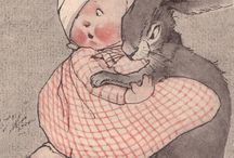 Are you sitting comfortably? / ... then I'll begin.   Vintage childrens book illustrations with dimpled, rosy cheeked children.