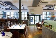 Pizza Express Shad Thames Project / Acoustic products installed at Pizza Express. RPG Products: Ceiling - Fabric covered RPG Absorbers in restaurant co-ordinating range of colours installed by MTK Installation Services Ltd and we sent our photographer in Adam Coupe Photography Limited. #acoustics #rpg #absorbers #restaurant #noisecontrol