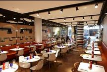 Pizza Express Stratford Westfield Project / Acoustic products installed at Pizza Express. RPG Products: Ceiling - Fabric covered RPG Absorbers in circle clusters and rectangles. We sent our photographer Adam Coupe Photography Limited to photograph the restaurant. #acoustics #rpg #absorbers #restaurant #noisecontrol