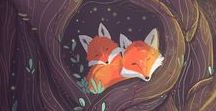 autum colours + foxes