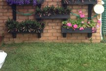Vertical garden DIY / Made with fencing timber. Painted black.
