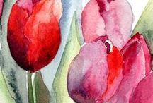 Pintura Flores / Pinturas de flores, óleo, acuarela...