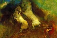 SIMBOLISMO /  Pervive un interés por lo subjetivo, lo irracional, al igual que en el romanticismo. No se quedan en la mera apariencia física del objeto sino que a través de él se llega a lo sobrenatural.  Colores fuertes para resaltar el sentido onírico de lo sobrenatural. Del mismo modo el uso de colores pasteles, por parte de algunos artistas, junto con la difuminación del color, perseguía el mismo objetivo; pero su originalidad, no estriba tanto en la técnica, sino en el contenido.