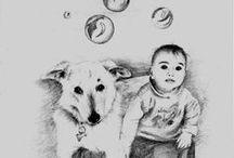 Dibujos de animales a lápiz/lápices de colores / Dibujados en papel cartulina, algunos digitalizados para su estampación en tejido. Casi todos los trabajos han sido por solicitud