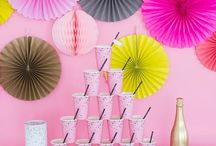 """Coquette Collection / Flirty and fun, our Coquette Collection brings charm and whimsy to any celebration. With vibrant colors, including pink, grey, chartreuse, and soft pink, and a bright confetti print, this theme is """"parfait"""" for bachelorette parties, birthdays, and girls' night in."""