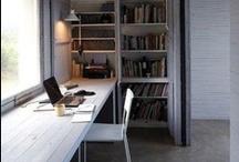 Studio & Workplace / Escritorio, desk, table, schreibtisch, library, studio, workspace, home office, bureau, work space, den / by extruvian
