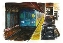 New York Watercolors / These Paintings are painted with SCHMINCKE Watercolors on 275g Torchon Paper.  Art Prints are available at different sizes - Just contact me here about prices and sizes: jk [at] jkillustration.de