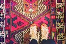 Layer the Floor / 'Inspired Coverings from the Doorstep to Bath, from Persian to Faux Fur and Yarn'