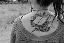 My Tattoo Inspiration #2 / My second idea for a possible tattoo would be much smaller, maybe 5-6 inches, between my shoulder blades. Vines entwined around a book and possibly a short book quote in the vines. No colour.