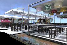 Summer club, sun lounge, industrial vintage, london style