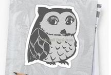 Redbubble: My Sticker Designs / Includes my original art designs as stickers on Redbubble! Features: Removable, individually die-cut vinyl; Ideal for smooth flat surfaces like laptops, journals, windows, walls etc. Artwork © Abigail Davidson Art.