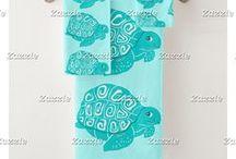 Artisan Abigail Bath Decor / Includes my original designs on shower curtains, bath mats, towel sets, toothbrush holders, and soap dispensers at Zazzle! Artwork © Abigail Davidson.