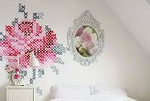 embroidery / wall art with cross stitch