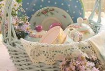 Tea Party Gift Basket Ideas / Putting together a pretty tea party themed gift basket for an auction.