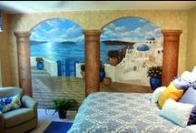 Santorini Greece Mural in a bedroom by Tom Taylor of Wow Effects. / Santorini Greece Mural in a bedroom by Tom Taylor of Wow Effects. The mural was hand painted in a Northern Virginia home.