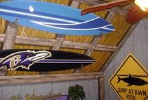 Surf Shack Room Mural by Tom Taylor of Wow Effects, in Ocean City, Maryland / Surf Shack Room Mural by Tom Taylor of Wow Effects, hand-painted in Ocean City Maryland