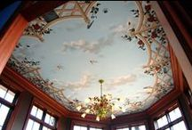 Bird Ceiling Mural by Tom Taylor of Wow Effects, in Virginia / Bird Ceiling Mural by Tom Taylor of Wow Effects, hand-painted in Virginia.