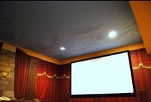 Home Theater Wall and Ceiling Murals by Tom Taylor of Wow Effects, hand-painted in Northern Virginia / Home Theater Wall and Ceiling Murals by Tom Taylor of Wow Effects, hand-painted in Northern Virginia. Including faux drapes, faux columns, and a sky ceiling.