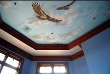 Sky Ceiling with Red-tailed Hawks by Tom Taylor of Wow Effects. Hand-painted in Virginia. / Sky Ceiling with Red-tailed Hawks by Tom Taylor of Wow Effects. The mural was painted in a master bedroom in Leesburg, Virginia.