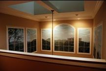 Trompe L'Oeil Windows in two story Dining Room. / Trompe L'Oeil Windows in two story Dining Room, hand-painted in a home in Georgetown, Washington D.C.