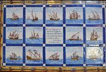 Azulejos. Art Wall Decor. Nautical Tile / Mediterranean patterns. Sea marine theme. Nautical style. My Beautiful Portugal.