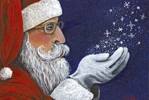 Season's Greeting / Christmas paintings by me, Darice Machel McGuire. I started a tradition to paint one Santa/Christmas painting a year. You can see how my Santas have evolved throught the years by viewing this board.