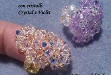 Anello fascia di fiori / Anelli realizzati con cristalli Swarovski e perline Miyuki.  Band of flowers rings made with Swarovski crystals and Miyuki beads.