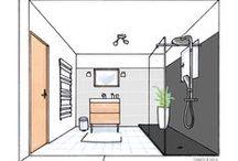 Salle de bain Gris Bois Blanc / Rénovation d'une salle de bain dans les tons de gris clair, gris anthracite, blanc et bois. Retrouvez l'ensemble du projet sur www.sophiebdeco.com