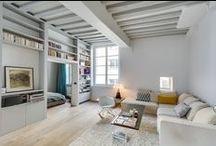 Salon Olivier Nancy / Tableau dédié à un chantier client, vous y trouverez mes inspirations pour ce projet : Aménagement d'un salon, salle à manger. Style industriel vintage, poutres apparentes, béton ciré au sol.