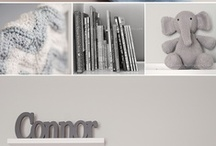 Nursery Decor (Baby Boy) / Grey and White with Splashes of Blue Theme!