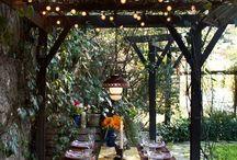Backyard - Tuscan Inspired / Mediterranean vegetation; swimming pool; rustic patio
