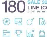 Line Icons / 180 Line icon set. All Icons are based on shapes (100% vector), easy to change color and adjustable to any size (Pixel perfect: 16x16, 32x32, 48x48, 64x64, 128x128, 256x256, 512x512). Available in: AI, EPS, PDF, PSD, SVG, PNG
