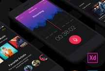 Musical Mobile UI Kit / We are pleased to present you our new amazing product - Musical Mobile UI Kit. 30+ screens for creating music apps. Compatible with Sketch, PS, XD