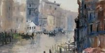 VENICE IN WATERCOLOR / VENICE PAINTING.  Venetian ladscape in watercolor and pastel. By Lana Temina watercolor artist.