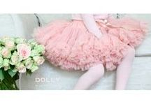 QUEEN OF ROSES  / Lovely rose pink DOLLY skirt for ROSY DOLLY girls