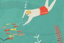 pesci, mare, nuoto