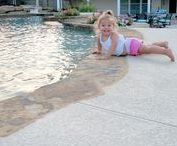 Keeping Cool at the Pool / Love lounging by the pool? Don't burn your feet with this pool deck overlay: Spray Knockdown Finish
