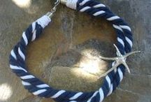 ropes, laces, knots in jewelry / jewelry made with ropes, cords and ribbons, tied with several nautical knots