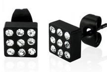 Men's Black Earrings / Men's Black Earrings, Popular On Trend Earrings For Men