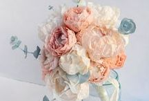 Paper Flower Bouquets / Handmade paper flower wedding bouquets from hand painted tissue paper
