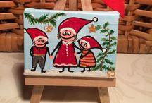 Mini paintings / Artwork, mini canvas ideas, miniature paintings, Christmas , ornaments, cute, DIY, miniart, jul, malerier, mini, nisser,