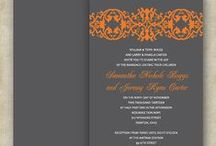 ORANGE + GRAY / Wedding Invites / Orange & Gray is becoming a very popular wedding theme! Some couples decide to do a rustic look and others do a more modern, classy, and elegant decor and stationary.