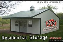 Residential Pole Buildings / Designing Pole Buildings for your backyard, front yard, and anywhere in-between. These buildings are for a home owner, to be used as a garage, storage, or a place for your workshop. All buildings were built by Pioneer Pole Buildings. Call 888-448-2505 for any questions.