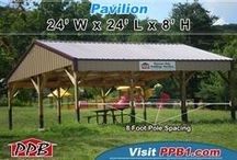 Pavilions / These are buildings that have a roof with open sides. Many used for parks, picnics, carports, and holding outside events. All buildings were built by Pioneer Pole Buildings. Call 888-448-2505 for any questions.